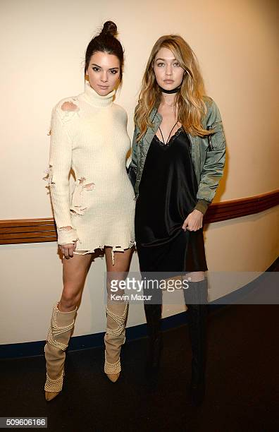 Kendall Jenner and Gigi Hadid attend Kanye West Yeezy Season 3 at Madison Square Garden on February 11 2016 in New York City