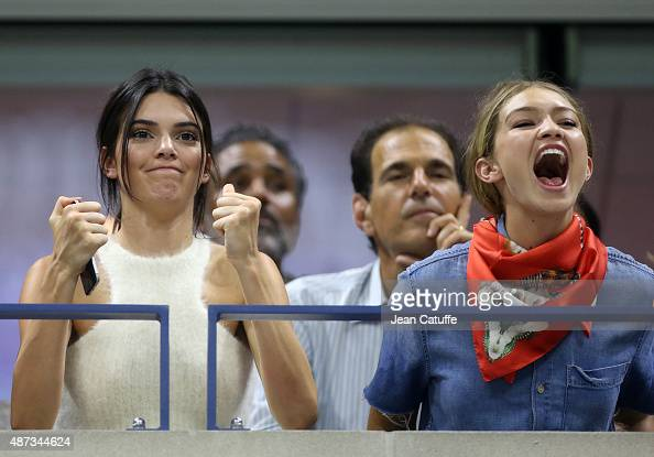 Kendall Jenner and Gigi Hadid attend the Williams sisters match on day nine of the 2015 US Open at USTA Billie Jean King National Tennis Center on...