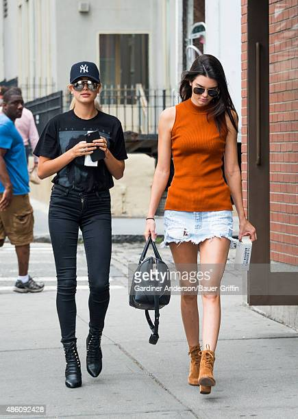 Kendall Jenner and Hailey Baldwin are seen on August 31 2015 in New York City