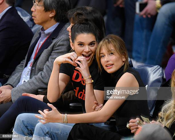 Kendall Jenner and Hailey Baldwin attend a basketball game between the Memphis Grizzlies and the Los Angeles Lakers at Staples Center on January 3...