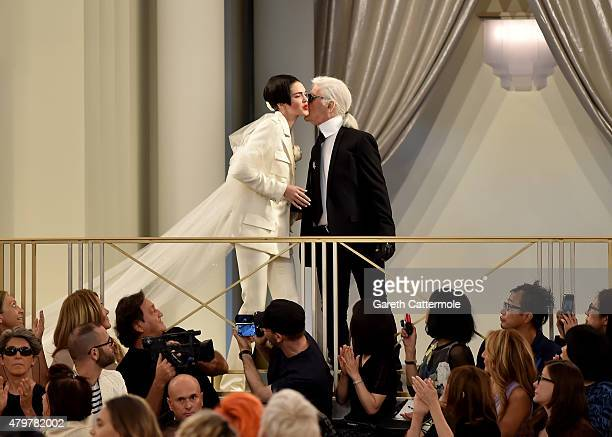 Kendall Jenner and Karl Lagerfeld walk the runway during the Chanel show as part of Paris Fashion Week Haute Couture Fall/Winter 2015/2016 at the...