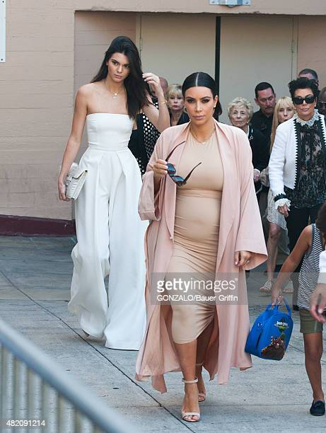 Kendall Jenner and Kim Kardashian are seen on July 26 2015 in Los Angeles California