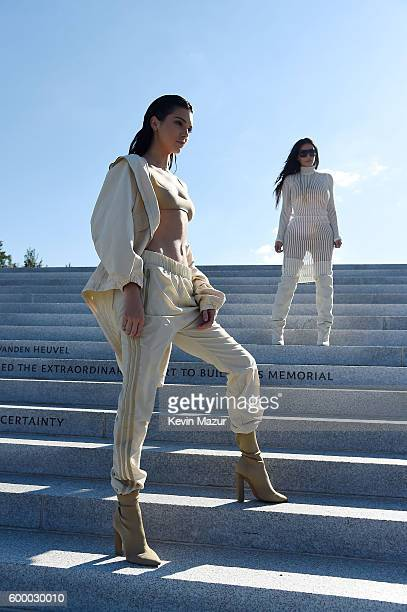 Kendall Jenner and Kim Kardashian attend the Kanye West Yeezy Season 4 fashion show on September 7 2016 in New York City