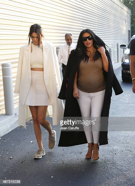 Kendall Jenner and Kim Kardashian attend the Williams sisters match on day nine of the 2015 US Open at USTA Billie Jean King National Tennis Center...