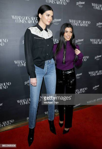 Kendall Jenner and Kourtney Kardashian arrive at What Goes Around Comes Around store One Year Anniversary Party held on October 11 2017 in Beverly...