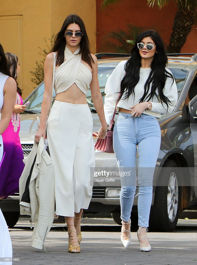 Kendall Jenner and Kylie Jenner are seen at church on Easter in Los Angeles on April 05 2015 in Los Angeles California