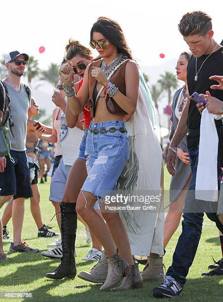 Kendall Jenner and Kylie Jenner are seen at Coachella Valley Music and Arts Festival at The Empire Polo Club on April 10 2015 in Indio California
