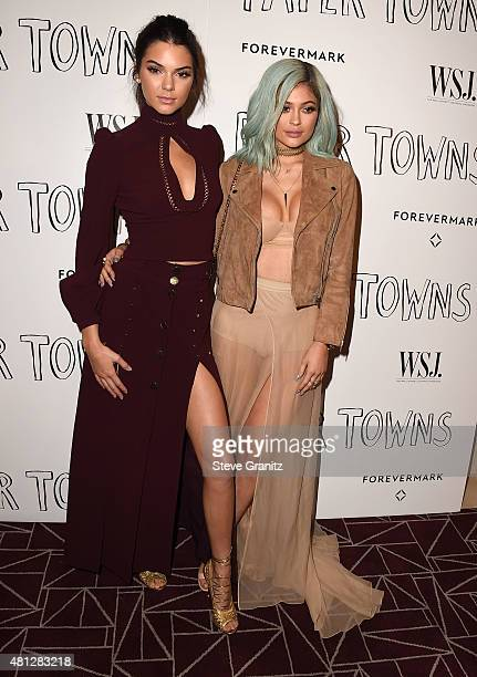 Kendall Jenner and Kylie Jenner arrives at the Screening Of 20th Century Fox's 'Paper Towns' at The London West Hollywood on July 18 2015 in West...