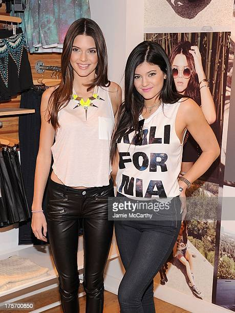 Kendall Jenner and Kylie Jenner attend 'Kendall And Kylie' Fall Collection Preview at PacSun NYC Pop Up Shop on August 6 2013 in New York City