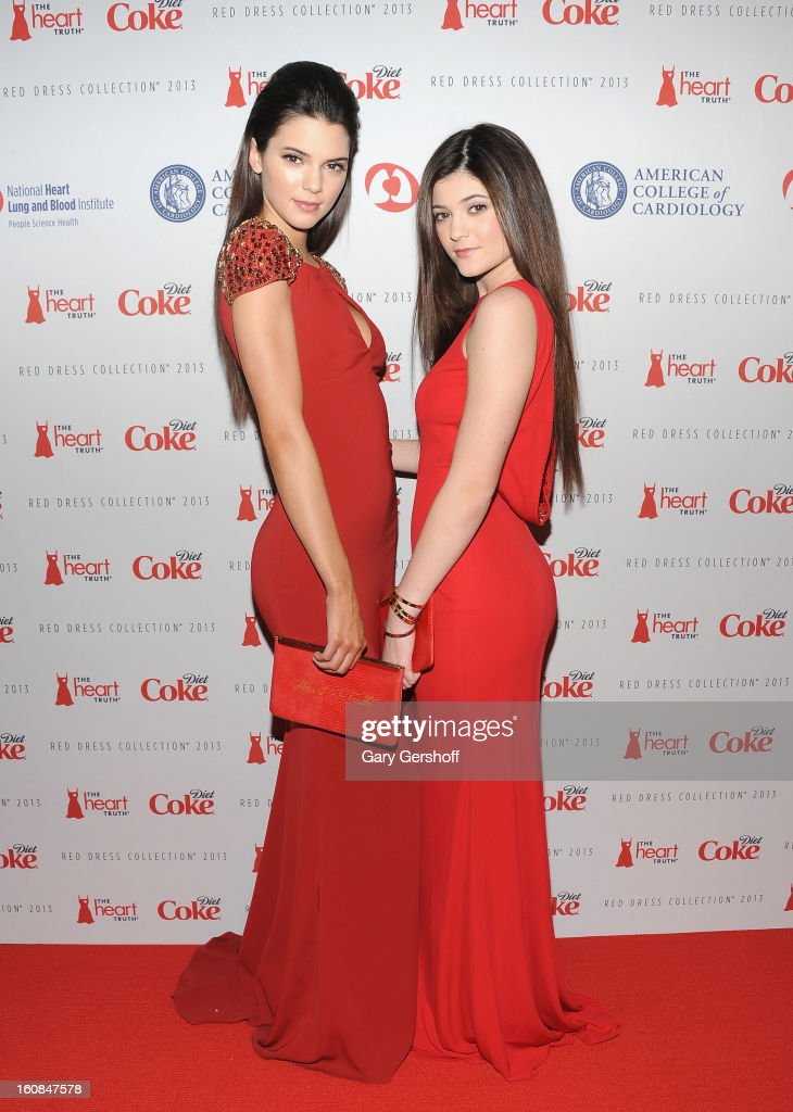 Kendall Jenner (L) and Kylie Jenner attend The Heart Truth's Red Dress Collection during Fall 2013 Mercedes-Benz Fashion Week at Hammerstein Ballroom on February 6, 2013 in New York City.