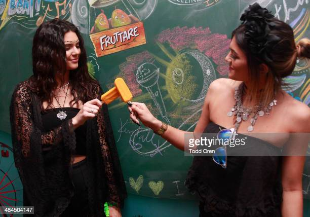 Kendall Jenner and Kylie Jenner visit the Fruttare Hangout at Coachella to refresh in between sets with a Fruttare Frozen Fruit Bar on April 12 2014...