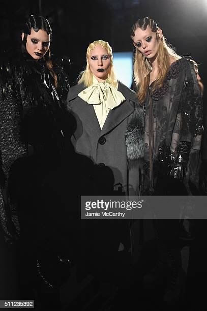 Kendall Jenner and Lady Gaga pose with a model backstage at Marc Jacobs Fall 2016 fashion show during new York Fashion Week at Park Avenue Armory on...