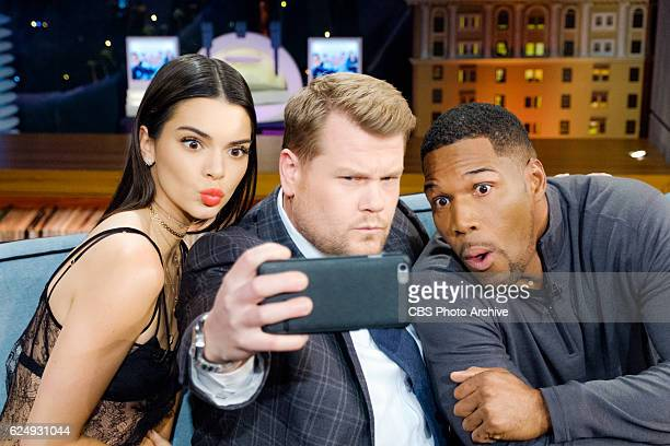 Kendall Jenner and Michael Strahan chat with James Corden during 'The Late Late Show with James Corden' Friday November 11 2016 On The CBS Television...