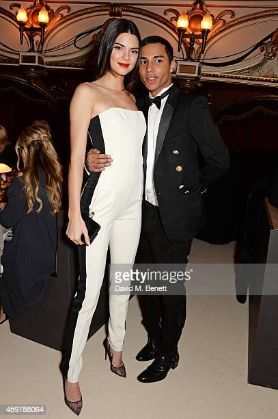 Kendall Jenner and Olivier Rousteing attend a drinks reception at the British Fashion Awards at the London Coliseum on December 1 2014 in London...
