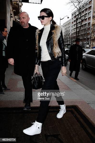 Kendall Jenner arrives at her hotel after the Chanel Show on January 27 2015 in Paris France