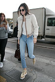 Kendall Jenner arrives at the 'Angelina' tea room on October 5 2015 in Paris France