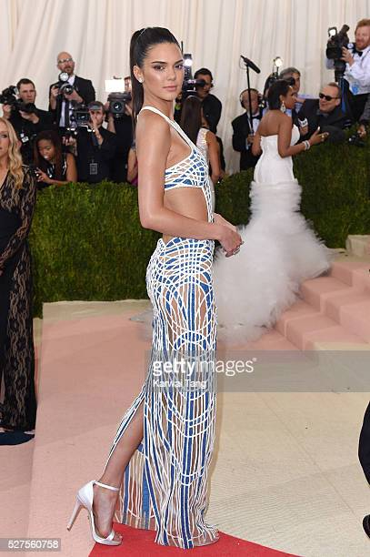 Kendall Jenner arrives for the 'Manus x Machina Fashion In An Age Of Technology' Costume Institute Gala at Metropolitan Museum of Art on May 2 2016...