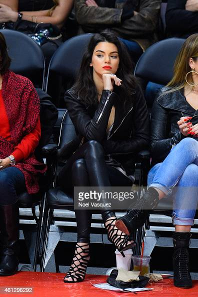 Kendall Jenner attends a basketball game between Dallas Mavericks and the Los Angeles Clippers at Staples Center on January 10 2015 in Los Angeles...