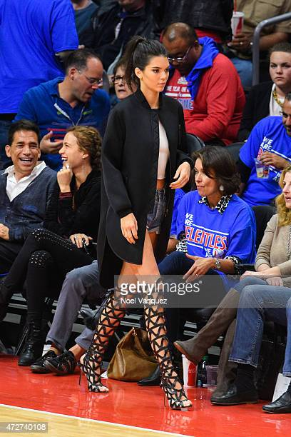 Kendall Jenner attends a basketball game between the Houston Rockets and The Los Angeles Clippers at Staples Center on May 8 2015 in Los Angeles...