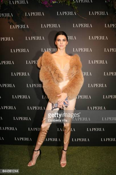 Kendall Jenner attends La Perla MFW Collection's Presentation and Milan Store Opening during Milan Fashion Week Fall/Winter 2017/18 on February 23...