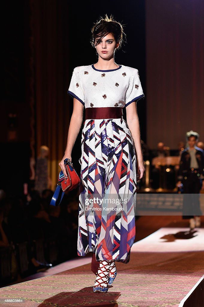 Kendall Jenner attends the Marc Jacobs Spring 2016 fashion show during New York Fashion Week at Ziegfeld Theater on September 17, 2015 in New York City.