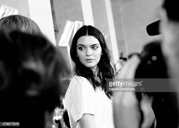 Kendall Jenner backstage before the Versace show as part of Paris Fashion Week HauteCouture Fall/Winter 2015/2016 on July 5 2015 in Paris France