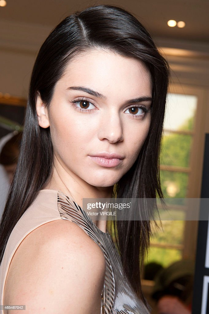 Kendall Jenner backstage during the Balmain show as part of the Paris Fashion Week Womenswear Fall/Winter 2015/2016 on March 5 2015 in Paris France