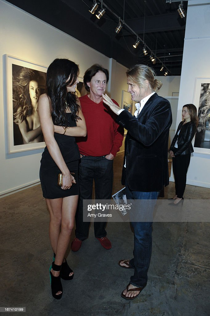 Kendall Jenner, Bruce Jenner and Russell James attend the Nomad Two Worlds and Russell James Private Reception at Guy Hepner Gallery on April 24, 2013 in Hollywood, California.