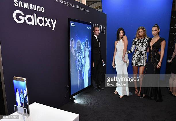 Kendall Jenner Gigi Hadid and Bella Hadid stop by the Samsung Galaxy Selfie Station at the Harper's BAZAAR ICONS by Carine Roitfeld and JeanPaul...