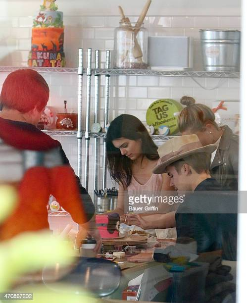 Kendall Jenner Hailey Baldwin and Justin Bieber are seen in Los Angeles on April 23 2015 in Los Angeles California