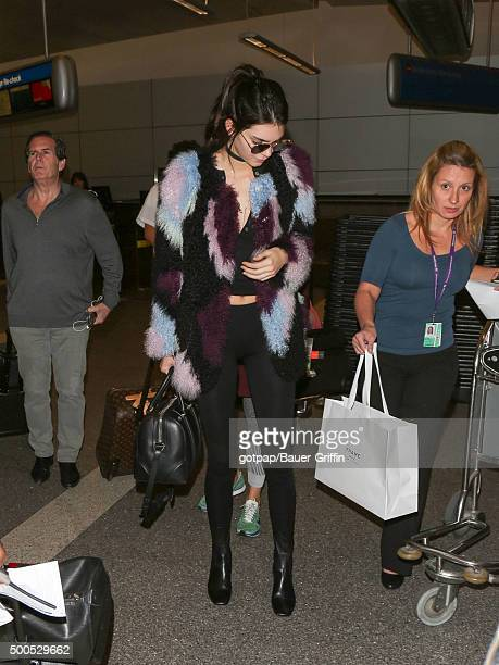 Kendall Jenner is seen at Los Angeles International Airport on December 08 2015 in Los Angeles California