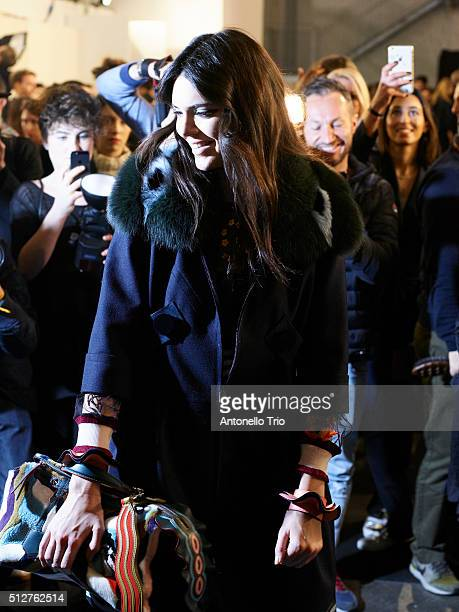 Kendall Jenner is seen backstage ahead of the Fendi show during Milan Fashion Week Fall/Winter 2016/17 on February 25 2016 in Milan Italy