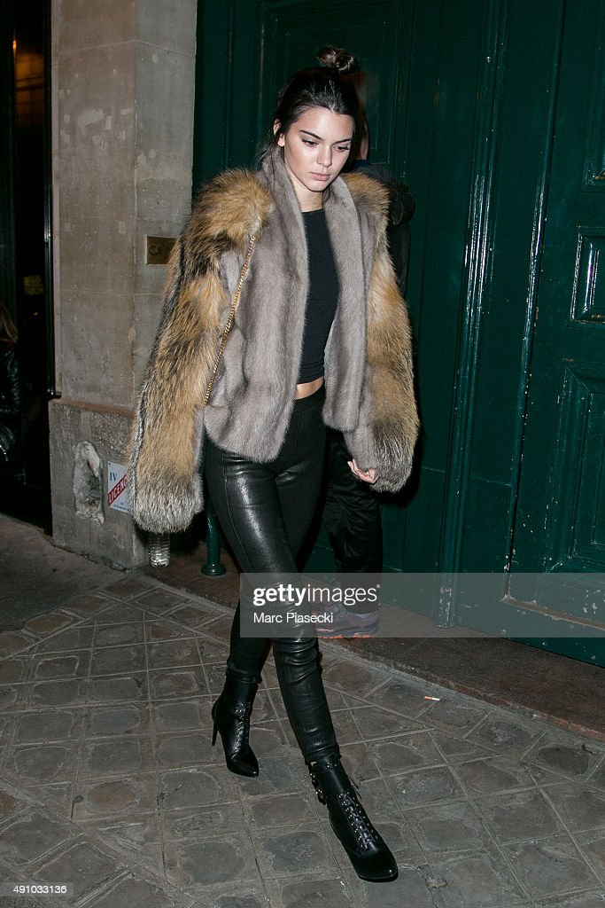Kendall Jenner is seen leaving the 'Kinugawa' restaurant on October 2, 2015 in Paris, France.