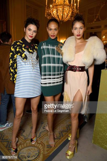 Kendall Jenner Joan Smalls and Bella Hadid attends Miu Miu Cruise Collection show as part of Haute Couture Paris Fashion Week on July 2 2017 in Paris...