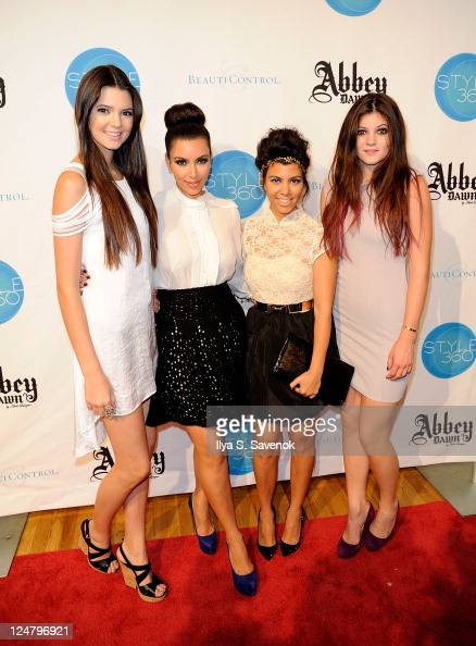 Kendall Jenner Kim Kardashian Kourtney Kardashian and Kylie Jenner attend the Abbey Dawn by Avril Lavigne Spring 2012 fashion show during Style360 at...