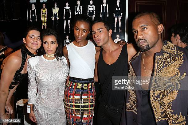 Kendall Jenner Kim Kardashian model Designer Olivier Rousteing and Kanye West pose in Backstage after the Balmain show as part of the Paris Fashion...