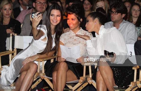 Kendall Jenner Kourtney Kardashian and Kim Kardashian attends the Abbey Dawn by Avril Lavigne Spring 2012 fashion show during Style360 at the...