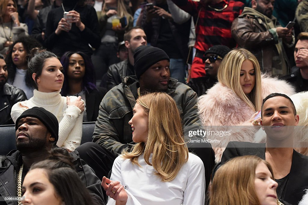 <a gi-track='captionPersonalityLinkClicked' href=/galleries/search?phrase=Kendall+Jenner&family=editorial&specificpeople=2786662 ng-click='$event.stopPropagation()'>Kendall Jenner</a>, <a gi-track='captionPersonalityLinkClicked' href=/galleries/search?phrase=Lamar+Odom&family=editorial&specificpeople=201519 ng-click='$event.stopPropagation()'>Lamar Odom</a>, <a gi-track='captionPersonalityLinkClicked' href=/galleries/search?phrase=Khloe+Kardashian&family=editorial&specificpeople=3955023 ng-click='$event.stopPropagation()'>Khloe Kardashian</a>, <a gi-track='captionPersonalityLinkClicked' href=/galleries/search?phrase=50+Cent+-+Rapper&family=editorial&specificpeople=215363 ng-click='$event.stopPropagation()'>50 Cent</a>, <a gi-track='captionPersonalityLinkClicked' href=/galleries/search?phrase=Karlie+Kloss&family=editorial&specificpeople=5555876 ng-click='$event.stopPropagation()'>Karlie Kloss</a> and Olivier Rousteing attend Kanye West Yeezy Season 3 on February 11, 2016 in New York City.