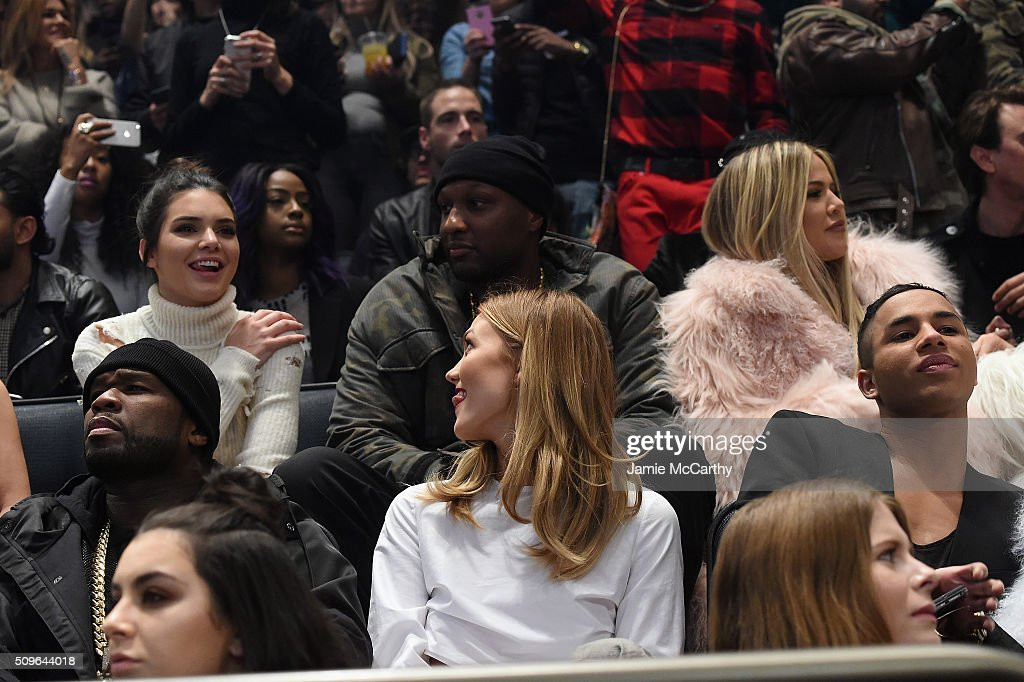 Kendall Jenner, Lamar Odom, Khloe Kardashian, 50 Cent, Karlie Kloss and Olivier Rousteing attend Kanye West Yeezy Season 3 on February 11, 2016 in New York City.