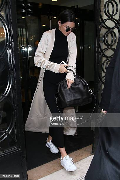 Kendall Jenner leaves Chanel showroom on January 22 2016 in Paris France