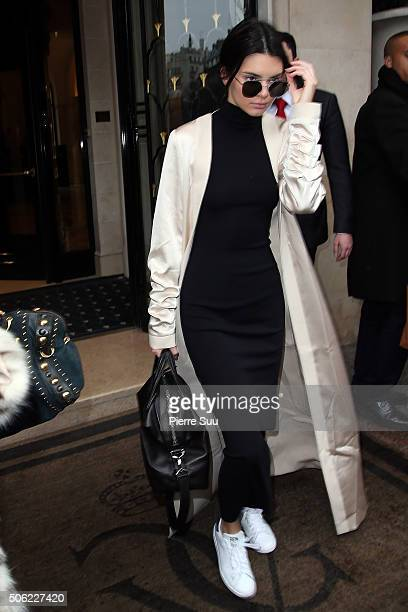 Kendall Jenner leaves her hotel on January 22 2016 in Paris France
