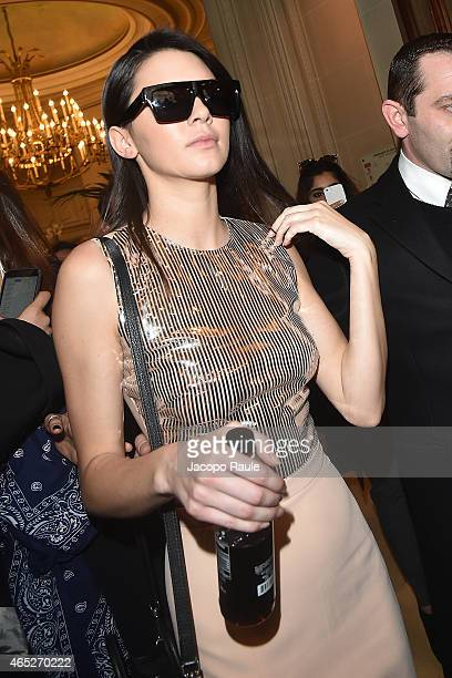 Kendall Jenner leaves the Balmain Fashion Show during Paris Fashion Week Fall Winter 2015/2016 on March 5 2015 in Paris France