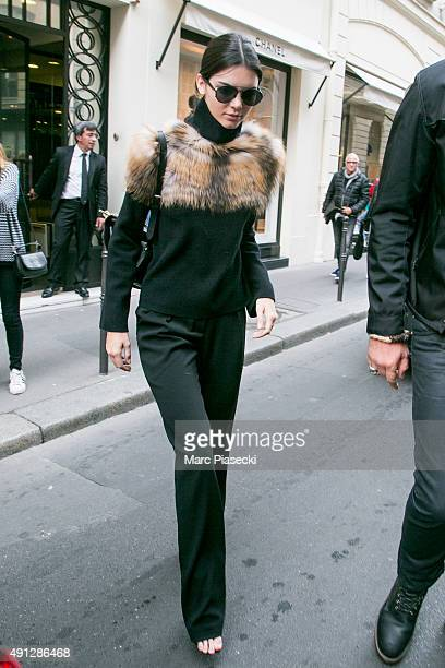 Kendall Jenner leaves the 'CHANEL' Cambon office building on October 4 2015 in Paris France