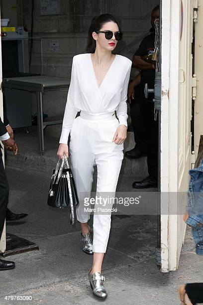 Kendall Jenner leaves the Chanel show as part of Paris Fashion Week Haute Couture Fall/Winter 2015/2016 on July 7 2015 in Paris France