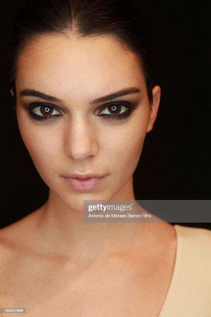 <a gi-track='captionPersonalityLinkClicked' href=/galleries/search?phrase=Kendall+Jenner&family=editorial&specificpeople=2786662 ng-click='$event.stopPropagation()'>Kendall Jenner</a> poses backstage at the Diane von Furstenberg fall 2015 fashion show on February 15, 2015 in New York City.