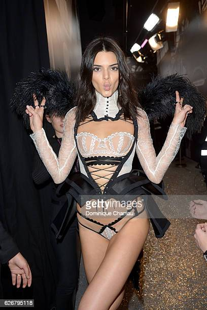 Kendall Jenner poses backstage during the Victoria's Secret Fashion Show on November 30 2016 in Paris France
