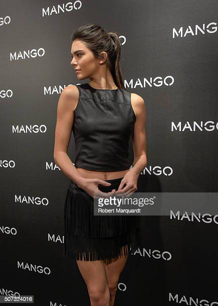 Kendall Jenner poses during a photocall for 'Tribal Spirit' by Mango on January 28 2016 in Barcelona Spain
