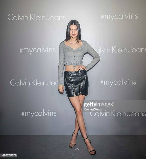 Kendall Jenner poses on the red carpet at the Calvin Klein Jeans music event with special appearance from Justin Bieber and performances by Jay Park...