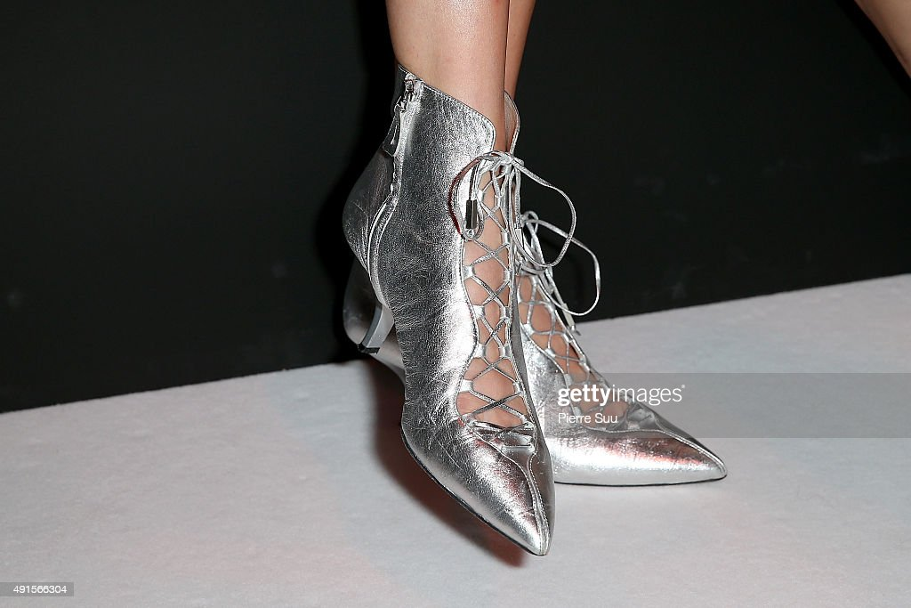 Kendall Jenner shoe detail attends the Shiatzy Chen show as part of the Paris Fashion Week Womenswear Spring/Summer 2016 on October 6 2015 in Paris...