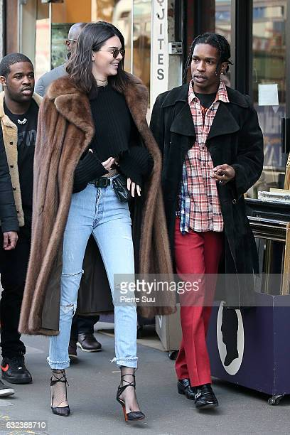 Kendall Jenner sighting with Asap Rocky at a flea market on January 22 2017 in Paris France